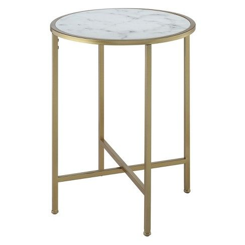 Johar Furniture Gold Coast Faux Marble Round End Table Gold