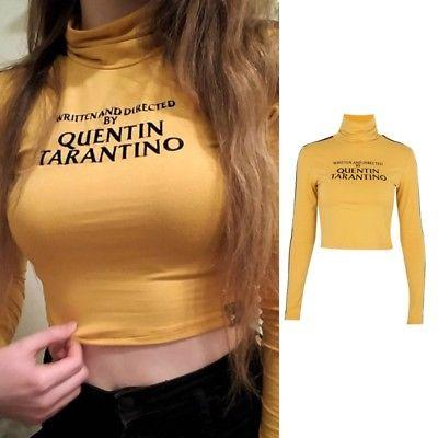 75b5484080581 Written and directed by Quentin Tarantino turtle neck crop top ...