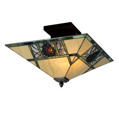 This Charming Nature Inspired Fixture Features A Pinecone Mission Designed Shade With Bark Brown Granite Glass Pinecones On A Clear Granite Glass Background With Pine Needle Detailing. Bone Beige Stained Glass Is Geometrically Divided By Moss Green Bands On The Shade, Suspended By Hardware Hand Finished In Mahogany Bronze.