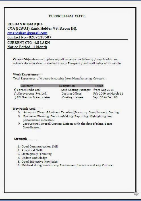Curriculum Vitae Word Format Download Sample Template Example OfExcellent  Resume / CV Format With Career Objective