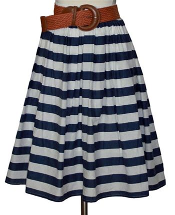 {Blue & White Cabana Stripe Skirt} WANT!
