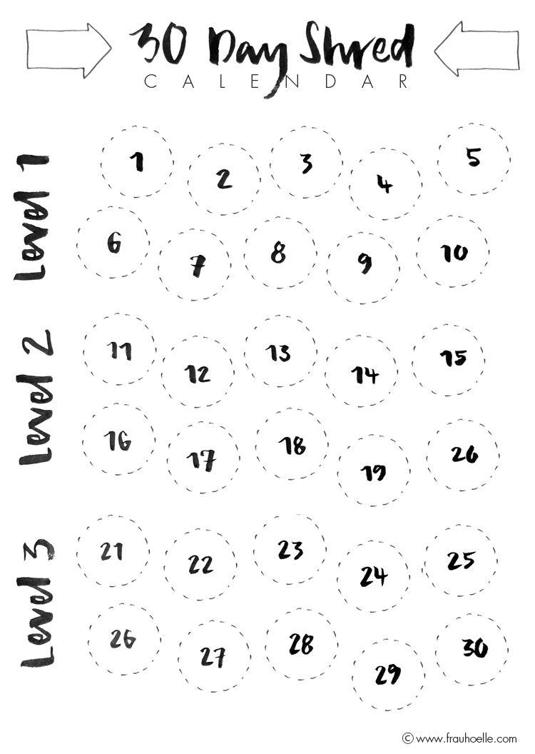 30 Day Shred Challenge Calender (Freebie) #brushlettering #30dayshred