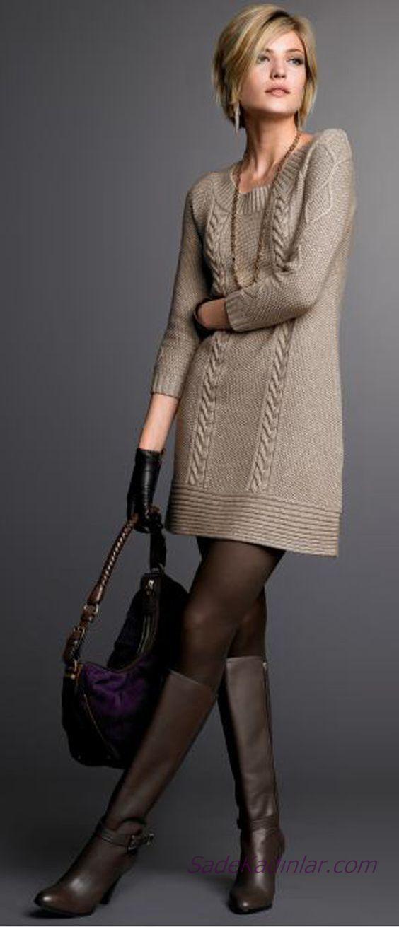 2020 Bayan Kış Modası Triko Elbise Vizon Kısa Geniş Yuvarlak Yaka Desenli