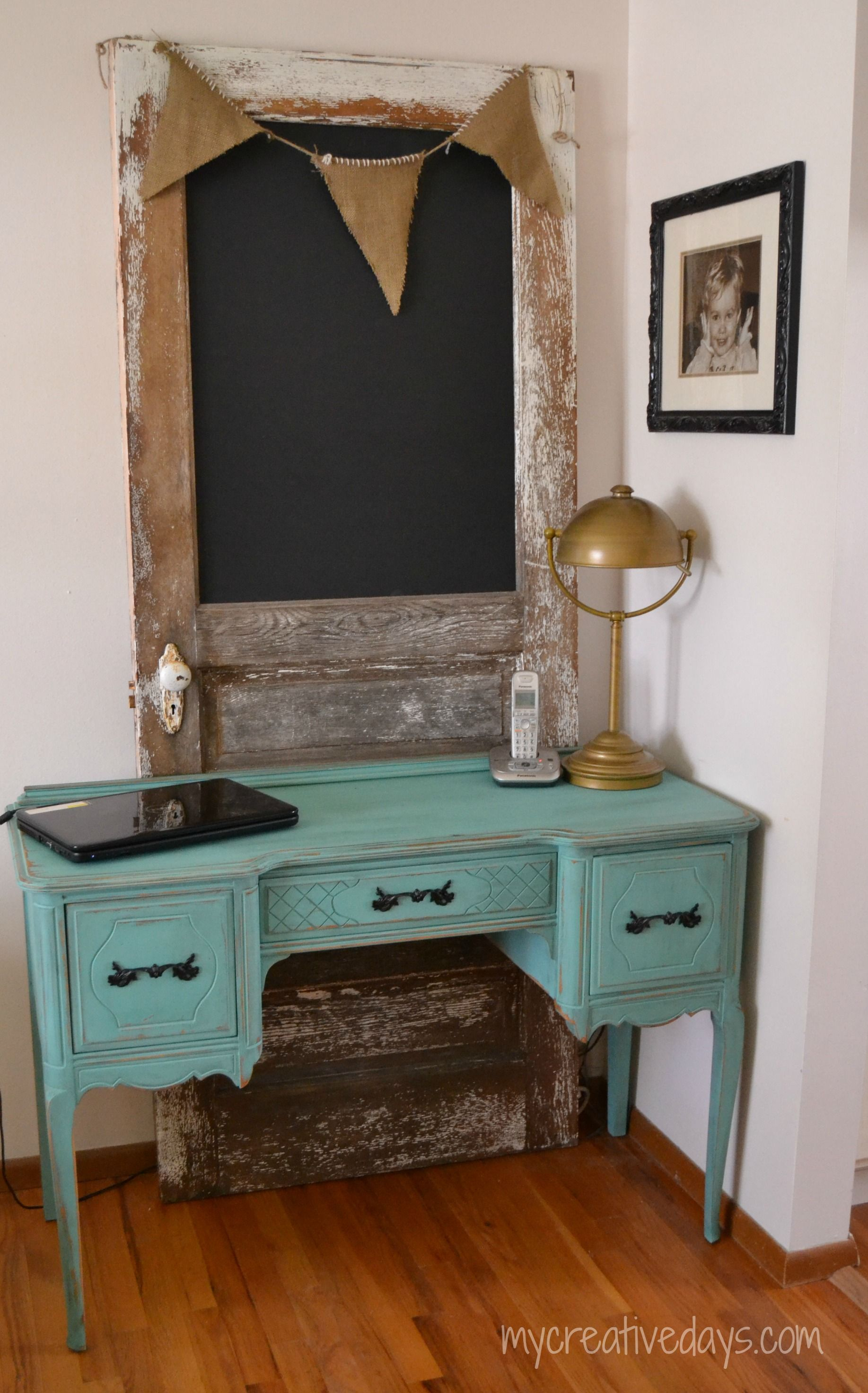 Blissful Desk Makeover guest post PAINTED FURNITURE