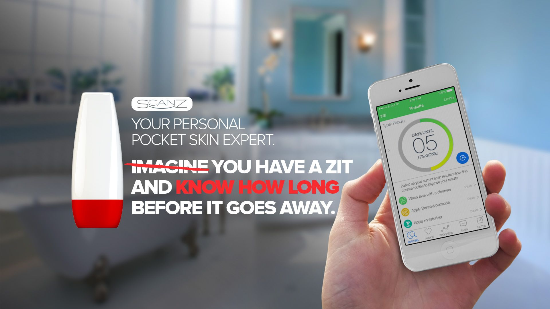 SCANZ IS YOUR POCKET SKIN EXPERT.   Introducing the first, on-the-go, iPhone connected acne scanner. Scan and track acne progress.   Be in charge of what is going on under your skin, whether you are at home or on-the-go.   ScanZ is your personal solution made of patented imaging technology.