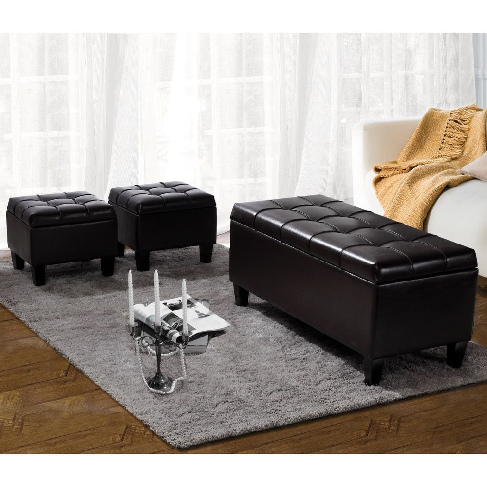 Lancaster 3-piece Rectangular Storage Ottoman Set (Set of 3) | Overstock.com