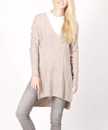 Brown Diamond-Knit Wool-Blend Sweater - Women #zulily #zulilyfinds