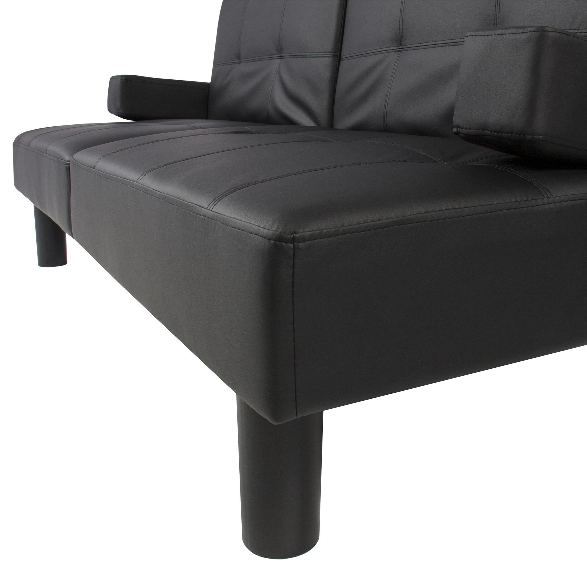 Faux Leather Sofa Bed Black