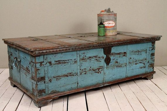 Jodhpur Blue Reclaimed Salvaged Antique Indian Wedding Trunk Coffee