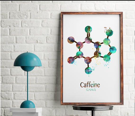 La Cafeine Molecule Impression Cafe Art Print Aquarelle Cuisine