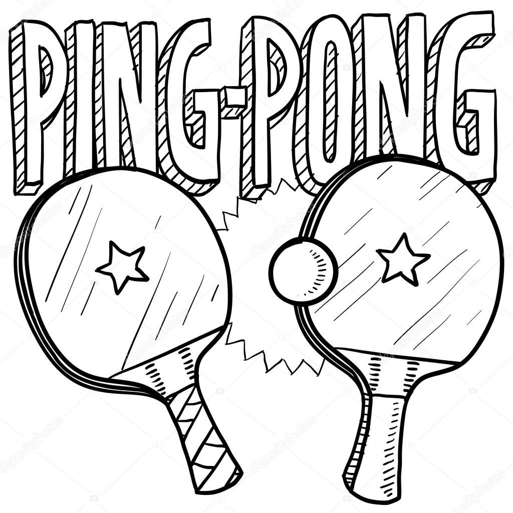 Ping Pong Sketch Stock Vector Ping Pong Table Tennis Table Sketch
