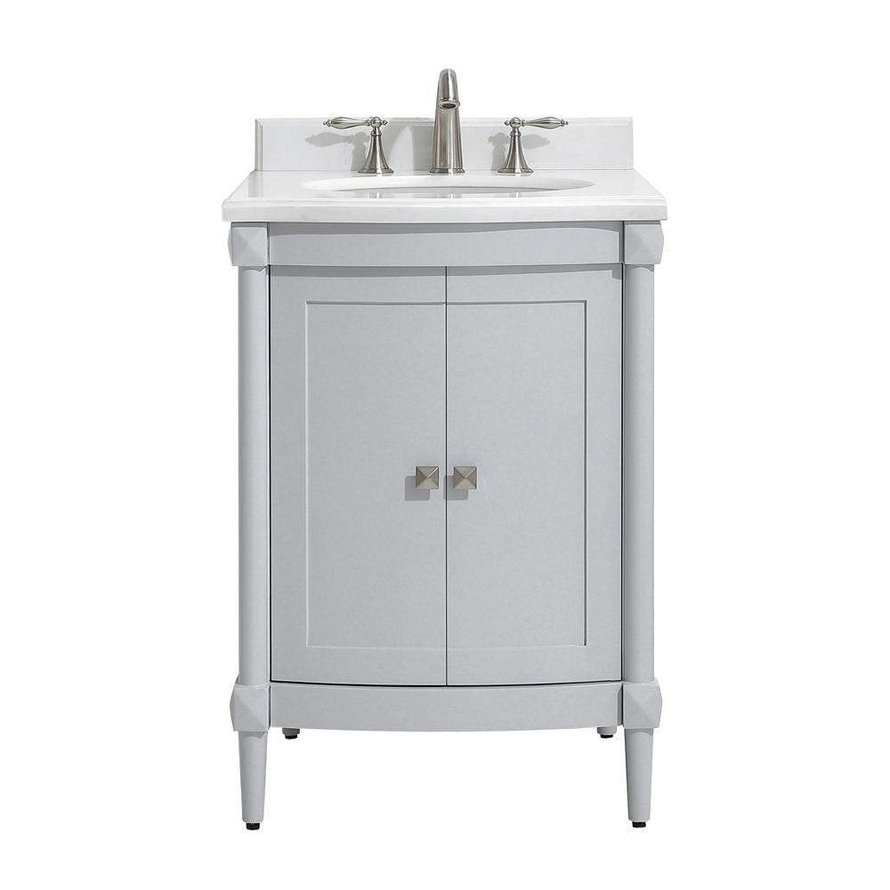 Home Decorators Collection Parkcrest 24 In W X 22 In D Vanity In Dove Grey With Marble Vanity Top In White With