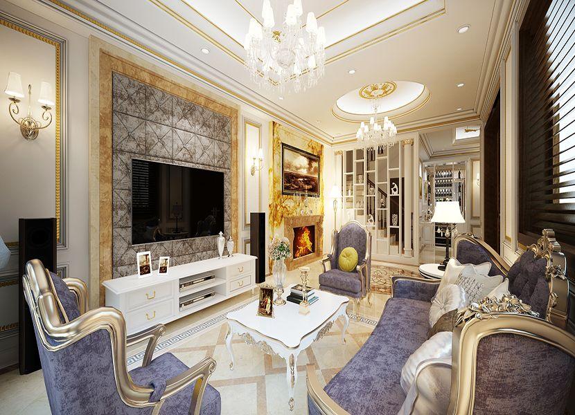 Sofa, bàn trà phong cách cổ điển
