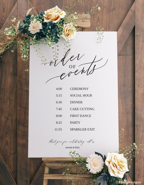 Order of events Wedding sign template, Wedding timeline sign, Printable wedding itinerary sign, Templett, Wedding schedule #021FD