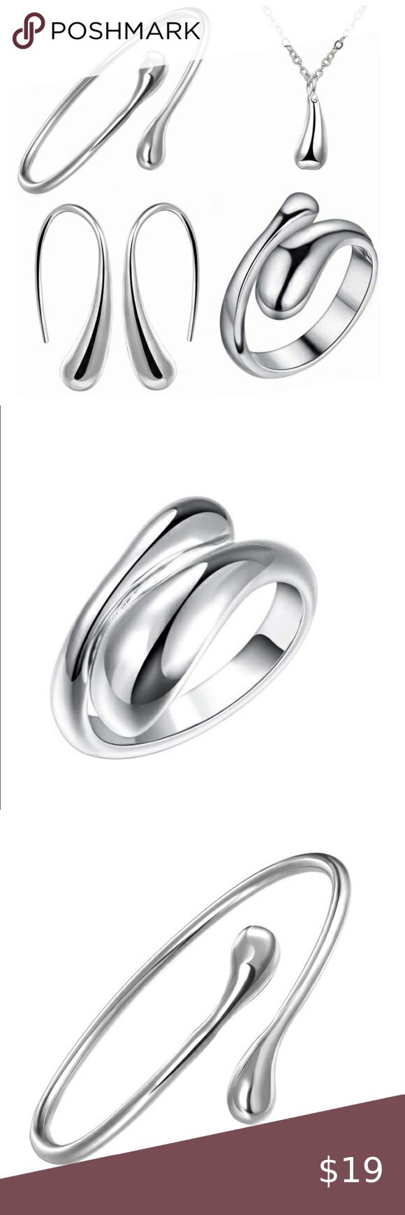 4pcs Silver 925 Teardrop Charm Jewelry Set Jewelry Gift Sets Jewelry Charm Jewelry