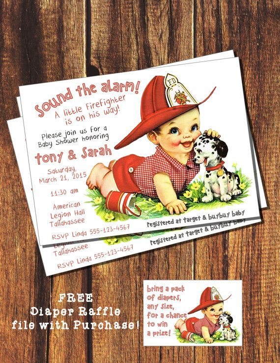 vintage fireman baby shower invitation by booboobeancreations