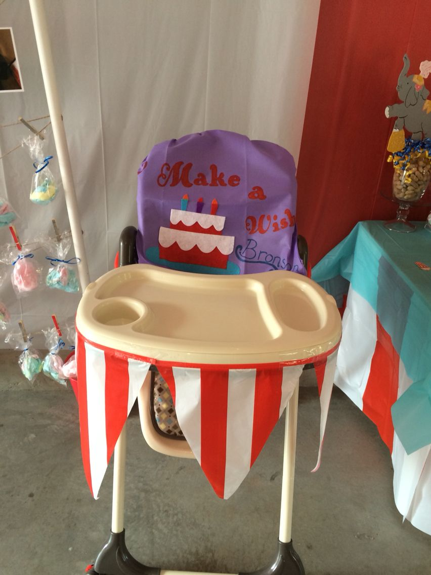Circus Party Carnival Party first birthday boy: highchair