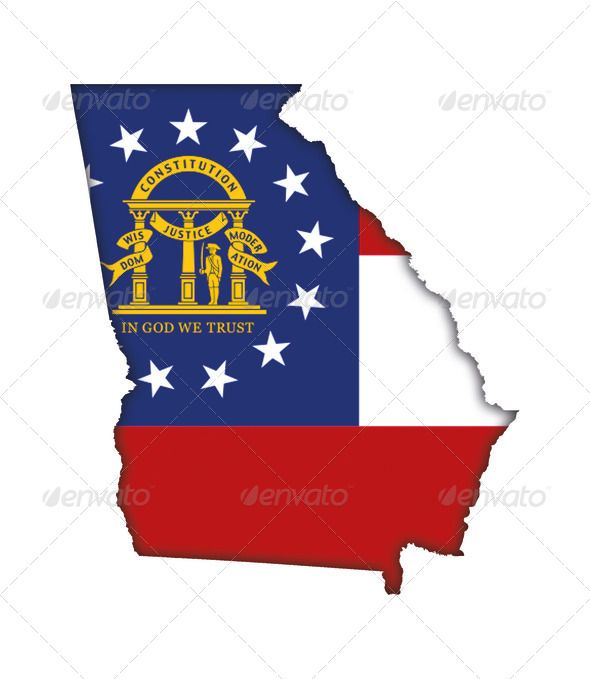 America Atlanta Banner Card Country Flag Georgia Icon Land Logo Map Proud Sign State Symbol Usa Georgia Symbols Georgia Flag Flag