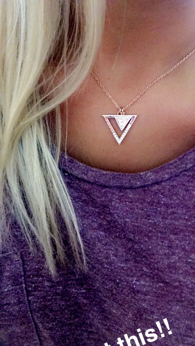 Guess Necklace Rose Gold Geo Metric Triangle Jewelry Branding Rose Gold Necklace Jewelry