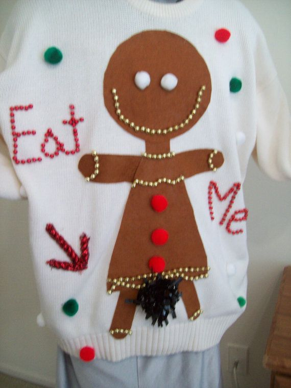 Ugly Christmas Sweater Women 2xl Gingerbread Girl Bushy Eat Me ...