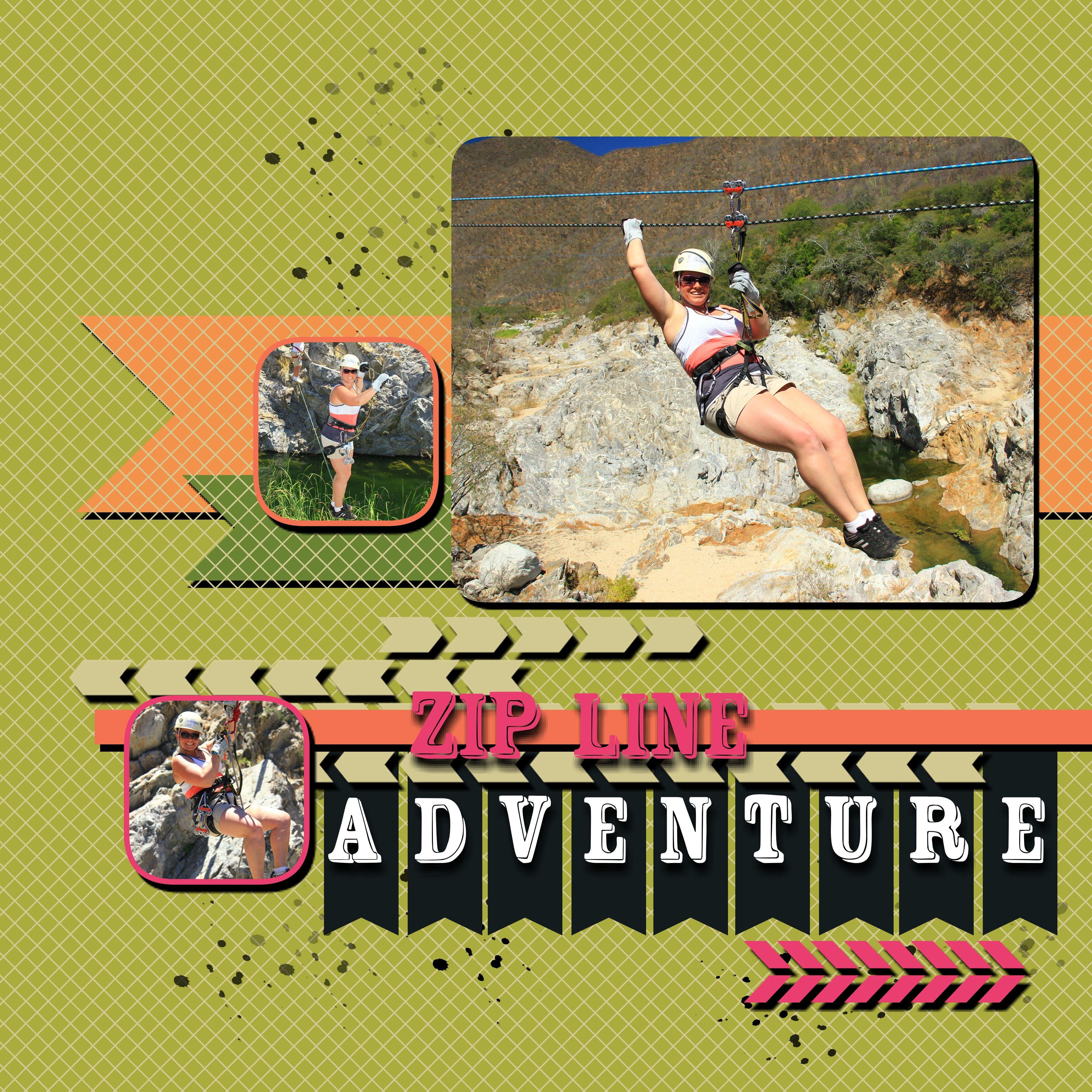 Ziplining scrapbook ideas - Zipline Adventure Page Layout Title