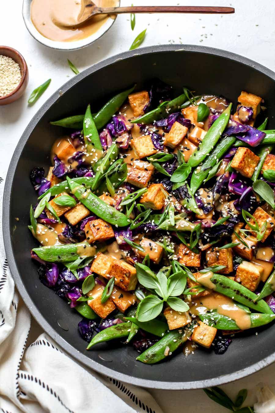 Easy Tofu Stir Fry With Peanut Satay Sauce Recipe Tofu Stir Fry Tofu Recipes Healthy