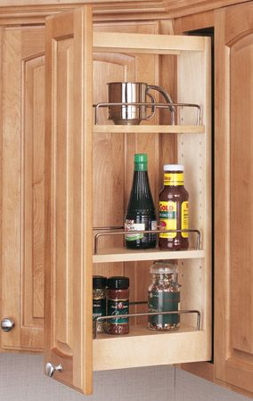 Dead space solution: Upper cabinet spice rack pull-out | Kitchen ...