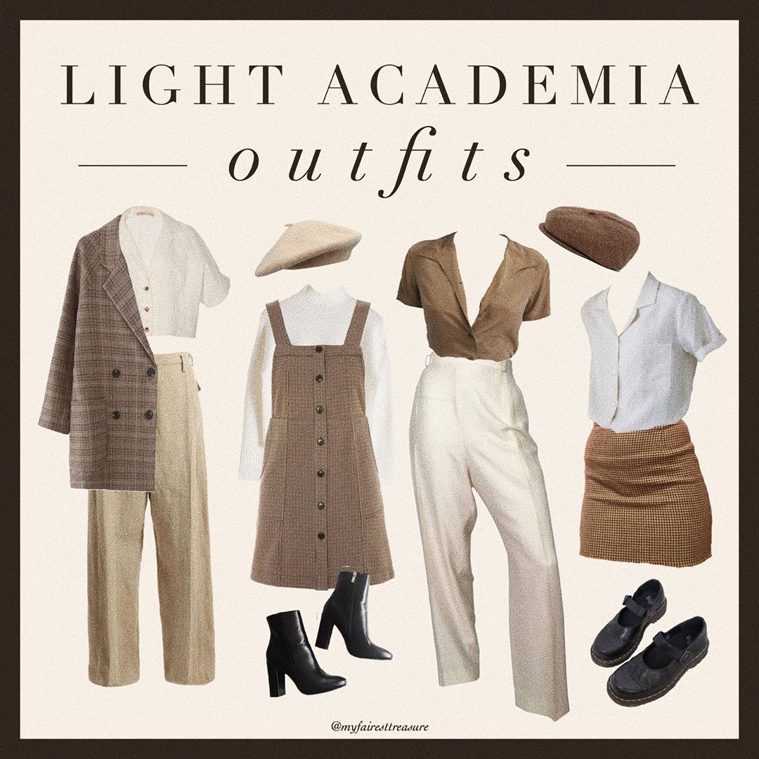 Dark Academia On Instagram Here S A Bit Of Light Academia Outfit Inspo Would You All Be Interested In A Retro Outfits Aesthetic Clothes Cute Casual Outfits