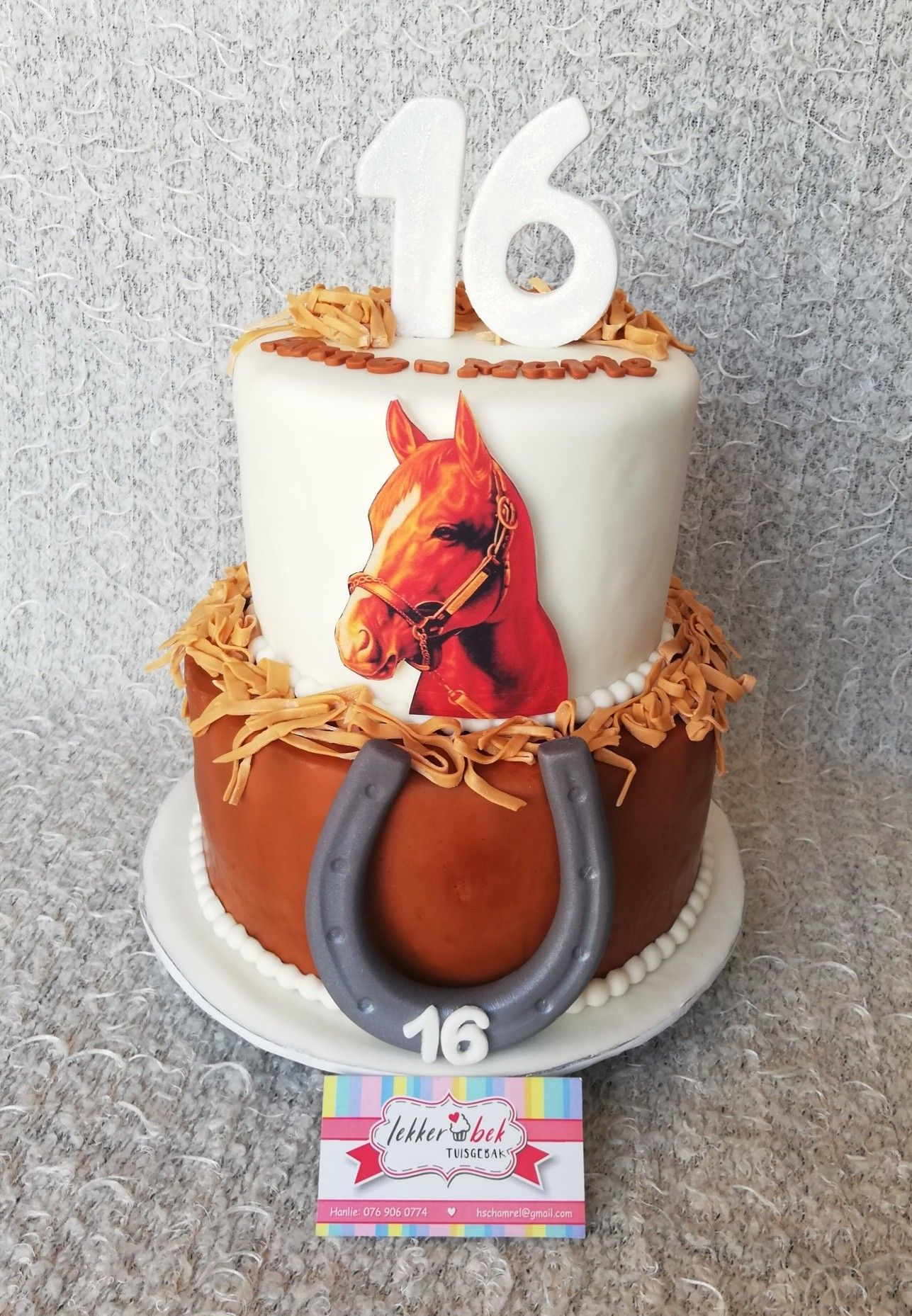 2 Tier Birthday Cake With Horse Picture And Fondant Horse
