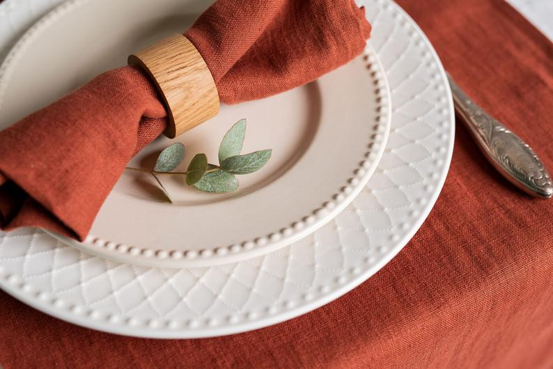 Redwood Linen Napkins Softened Linen Napkins Set Wedding Etsy Napkins Set Linen Napkins Linen Tea Towel