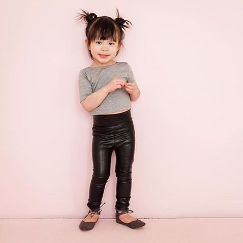 Faux Leather Leggings Girls Crop Top Girls Leggings