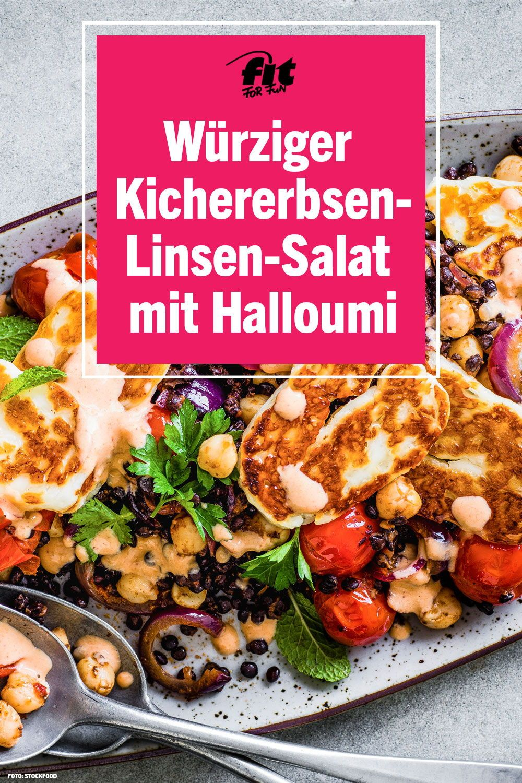 Kichererbsen-Linsen-Salat mit Halloumi #foodanddrink
