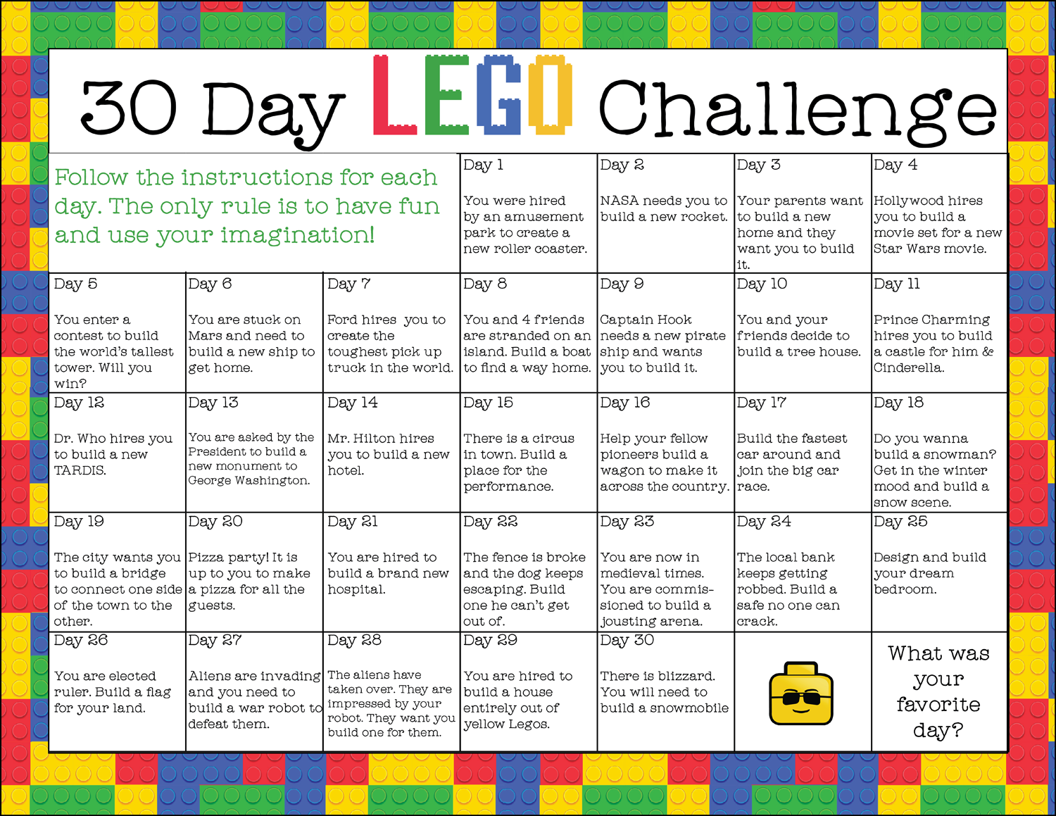 Free Printable 30-Day LEGO Challenge (instant download ...