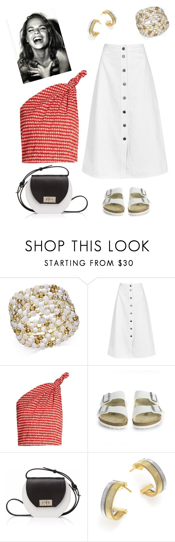 """Vichy."" by schenonek ❤ liked on Polyvore featuring INC International Concepts, M.i.h Jeans, Rosie Assoulin, Birkenstock, Joanna Maxham and Marco Bicego"