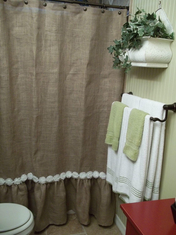 Ruffled Bottom Burlap Shower Curtain With White Shabby Flower Trim 7200 Via Etsy