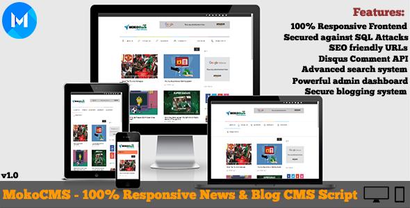 MokoCMS Responsive News and Blog …   PHP Scripts, adsense