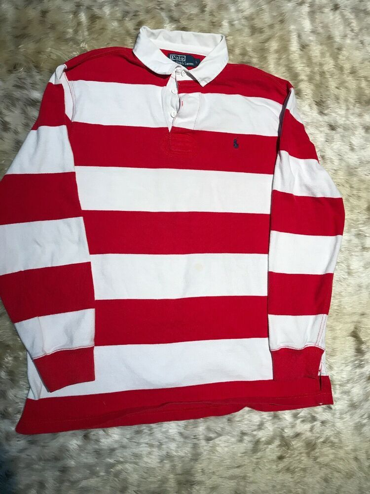 b32478e30 Polo Ralph Lauren Red White Stripe Rugby Shirt Mens Sz L  PoloRalphLauren   PoloRugby