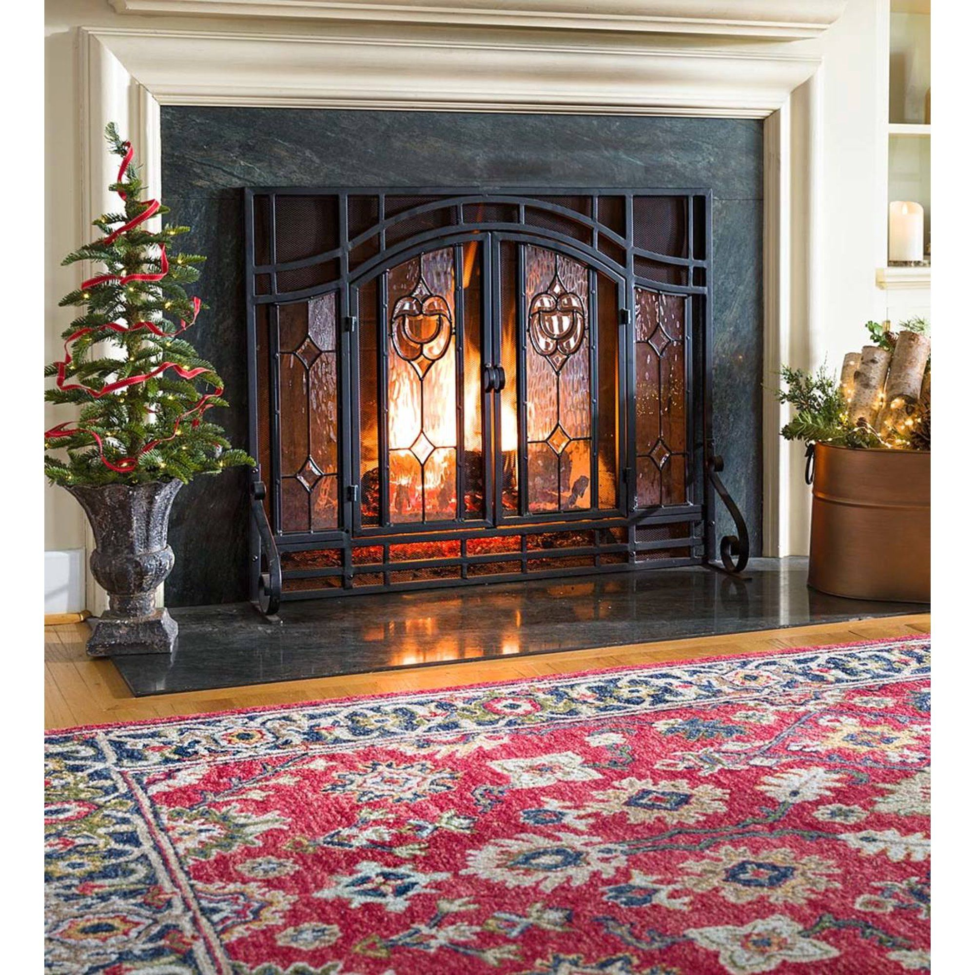 2 Door Floral Fireplace Fire Screen With Beveled Glass Panels Black Walmart Com Fireplace Screens With Doors Glass Fireplace Glass Fireplace Screen