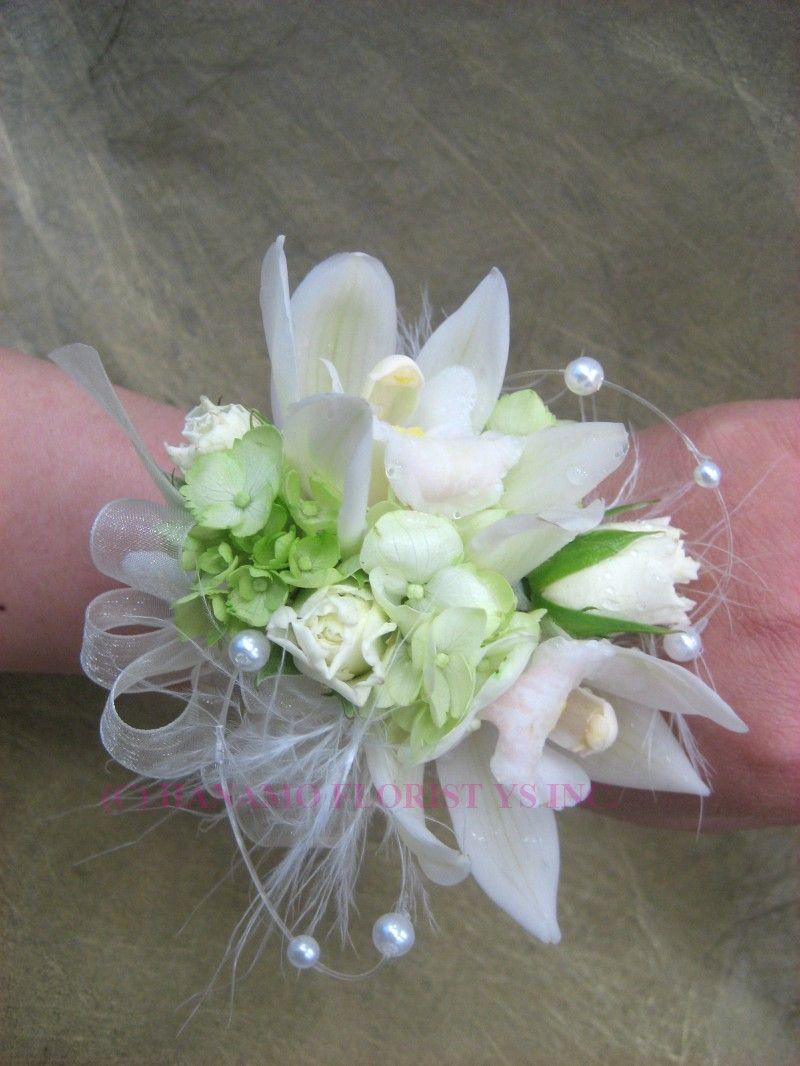 Cymbidium Orchid Wrist Corsages: Mini Cymbidium Orchids & Spray Roses