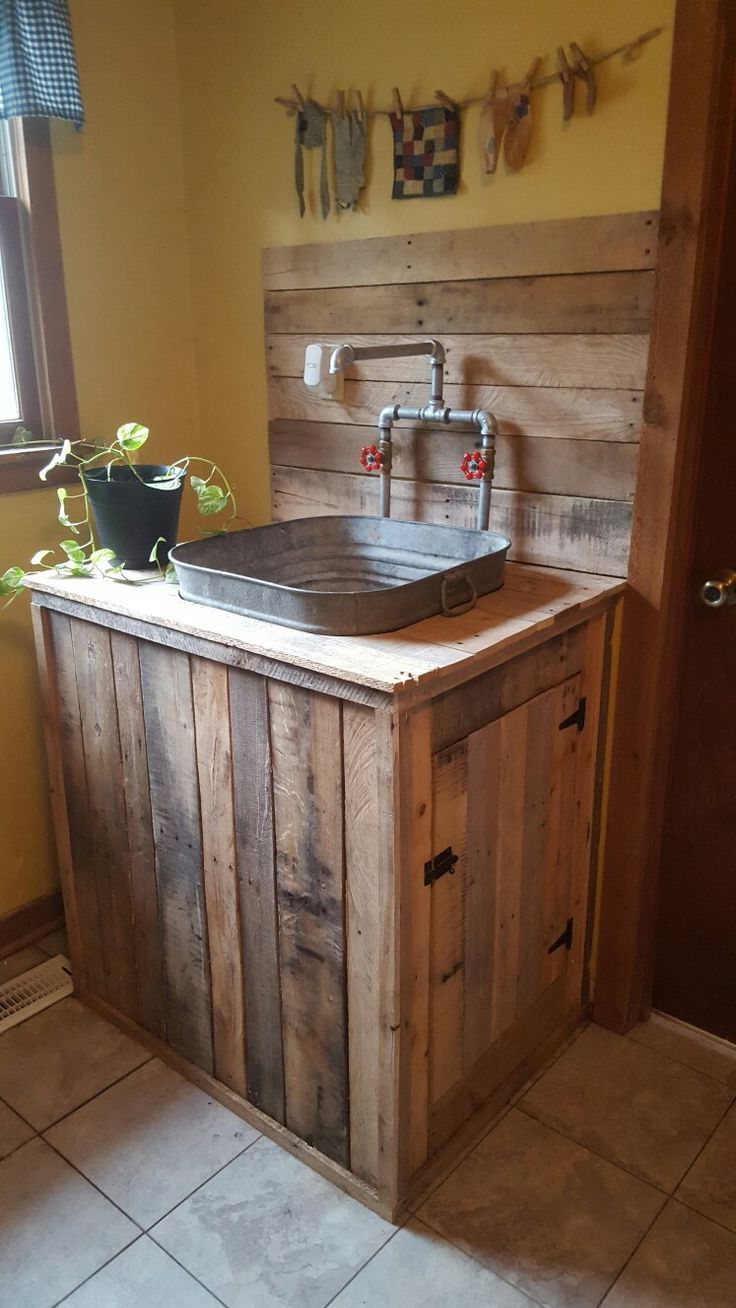 Utility Sink I Built From Pallet Wood And An Old Wash Tub With