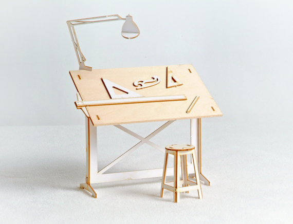 Miniature Drafting Table Model Kit with Real Wood Tabletop, Lasercut