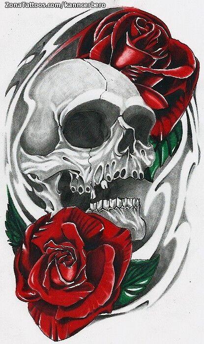 Diseño De Calaveras Rosas Flores Tatuajes Tatoos Pinterest