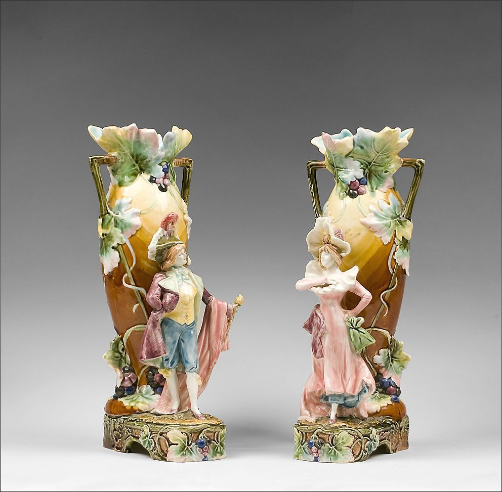 Pair of french art nouveau barbotine figural majolica vases pair of french art nouveau barbotine figural majolica vases reviewsmspy