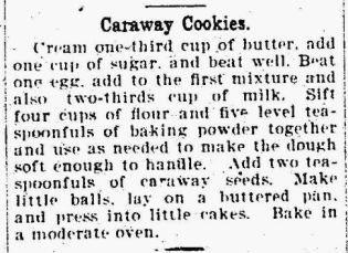 Caraway Cookies - The Wellsboro Agitator PA 24 Aug 1910