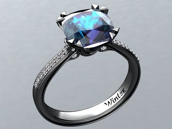 black emerald engagement and ring gold princess rings img cut