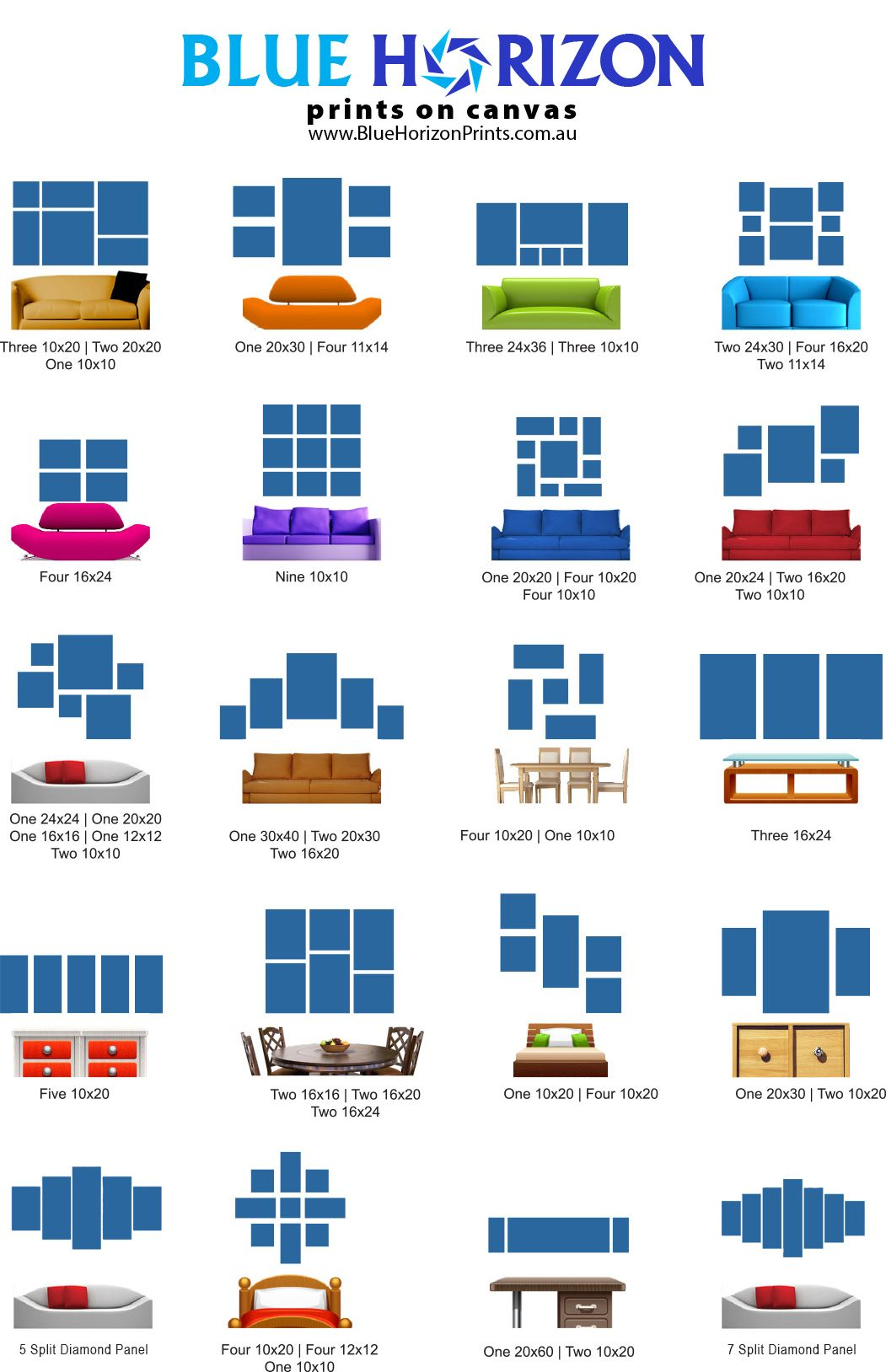 Great Wall Art Layout Ideas For Your Home Using Split Panel Art Layout Combinations Multi Piece Wa Home Decor Pictures Gallery Wall Layout Photo Wall Gallery