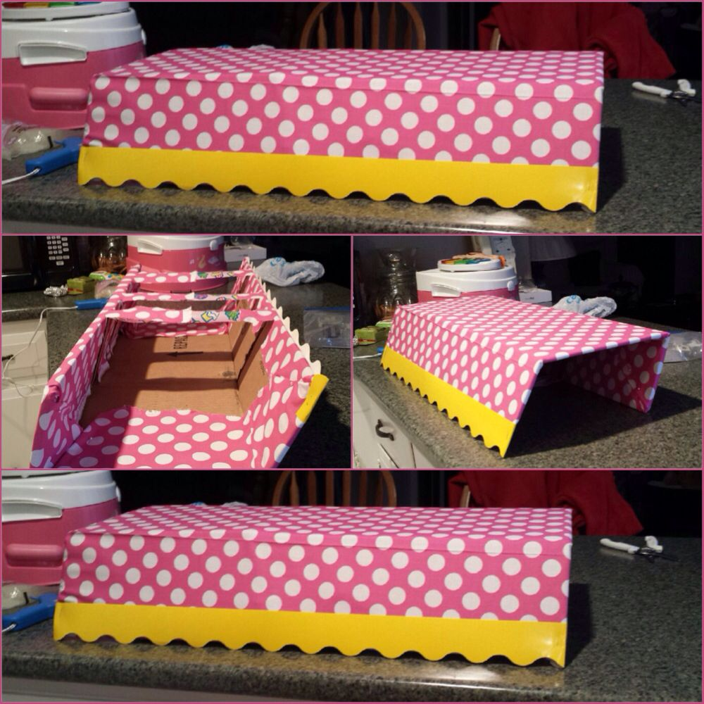 Awning For Sweet Shoppe Candy Table Made Out Of Cardboard