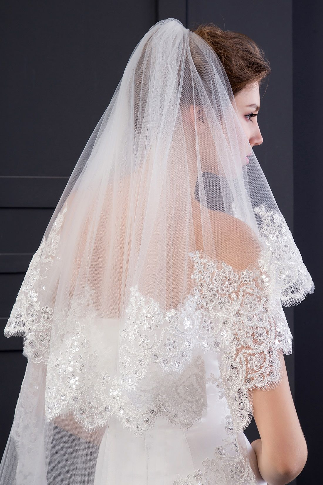 EllieHouse Women's Custom Made Long 2 Tier Wedding Bridal