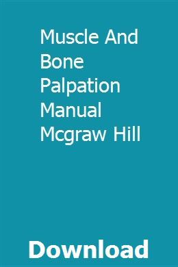 Muscle and bone palpation manual pdf
