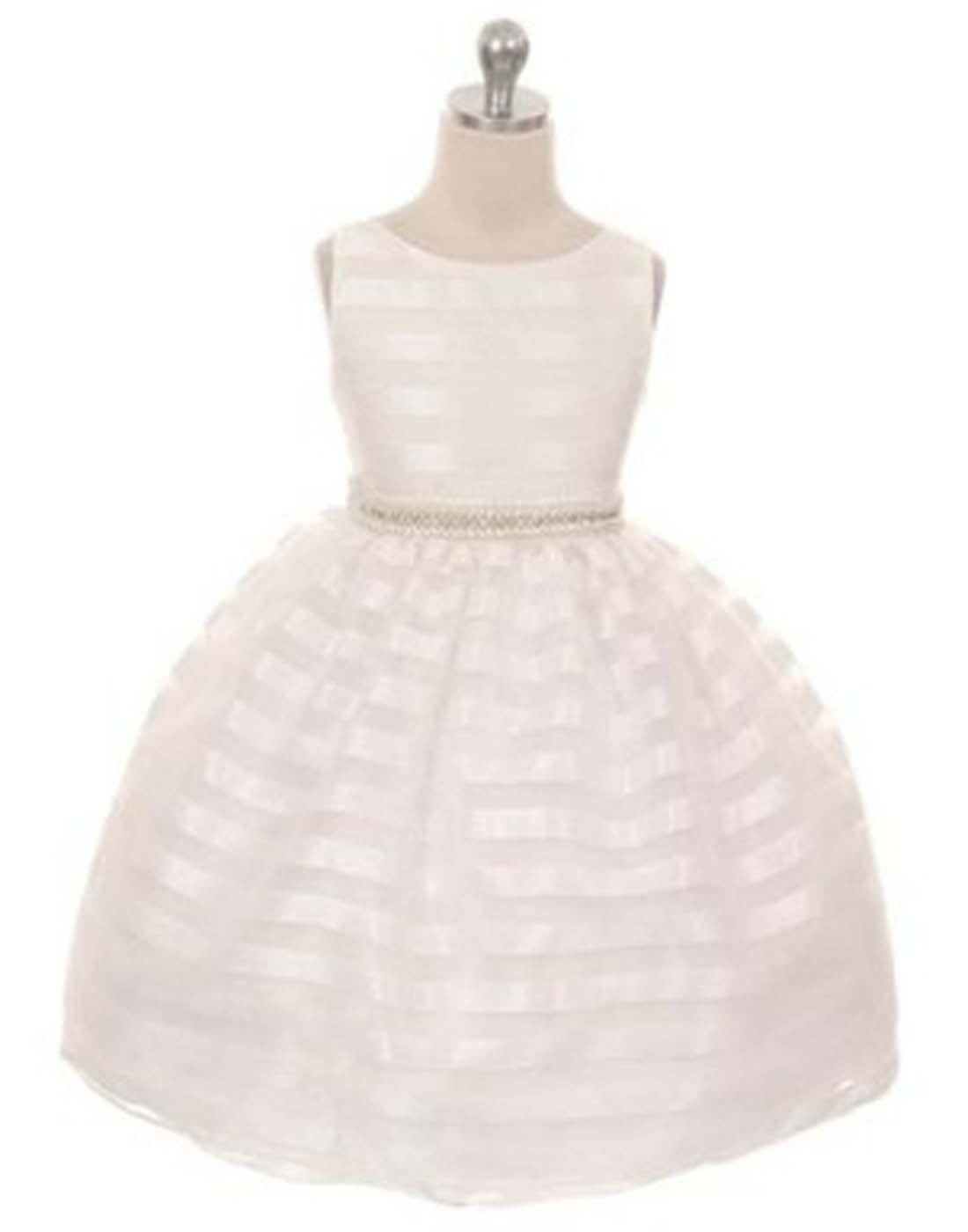 Organza striped overlay dress with gem belt ivory flower girl